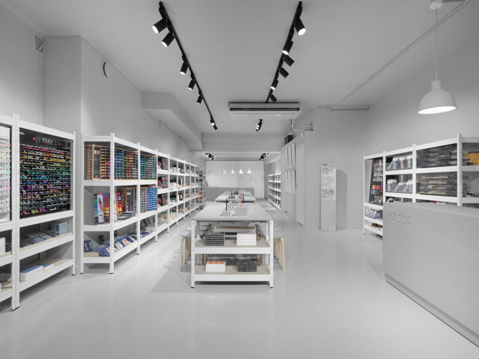 Stylish Monochromic Interior Of Colour Pencils Store 4