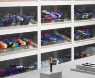 Stylish Monochromic Interior Of Colour Pencils Store