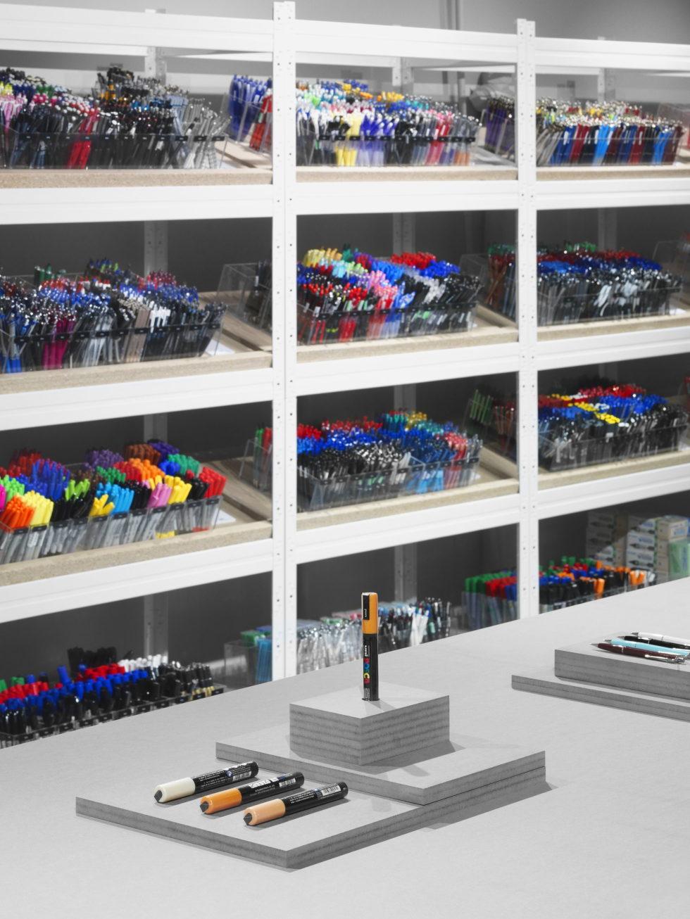Stylish Monochromic Interior Of Colour Pencils Store 7