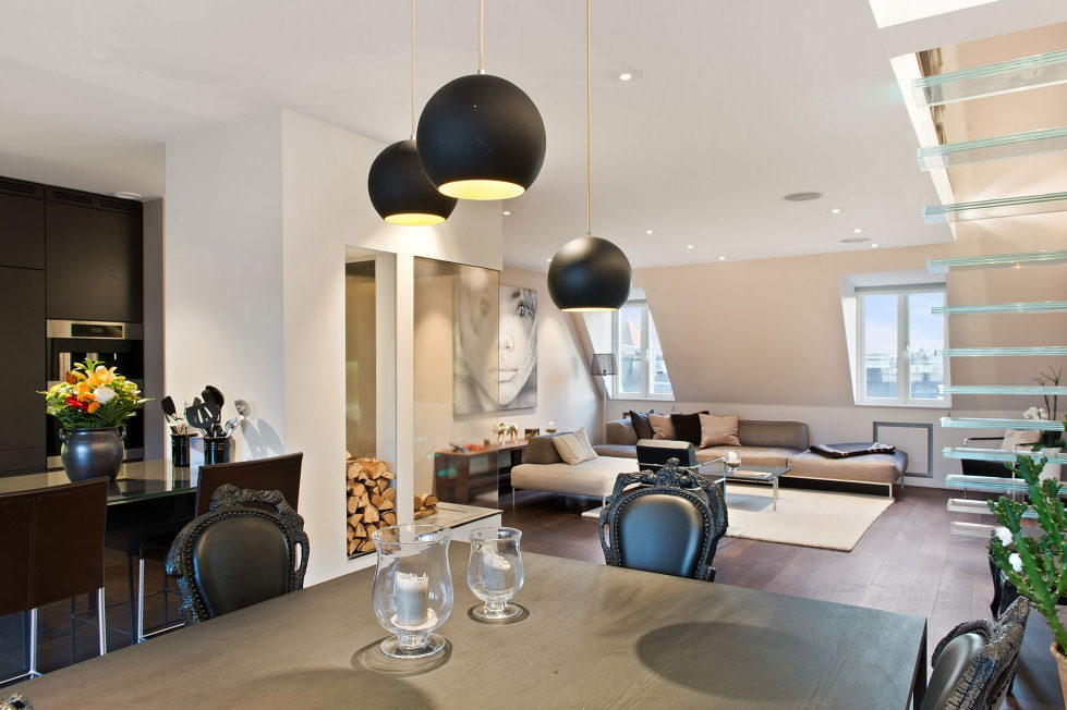 The apartment of 150 square meters in the attic in Stockholm 2