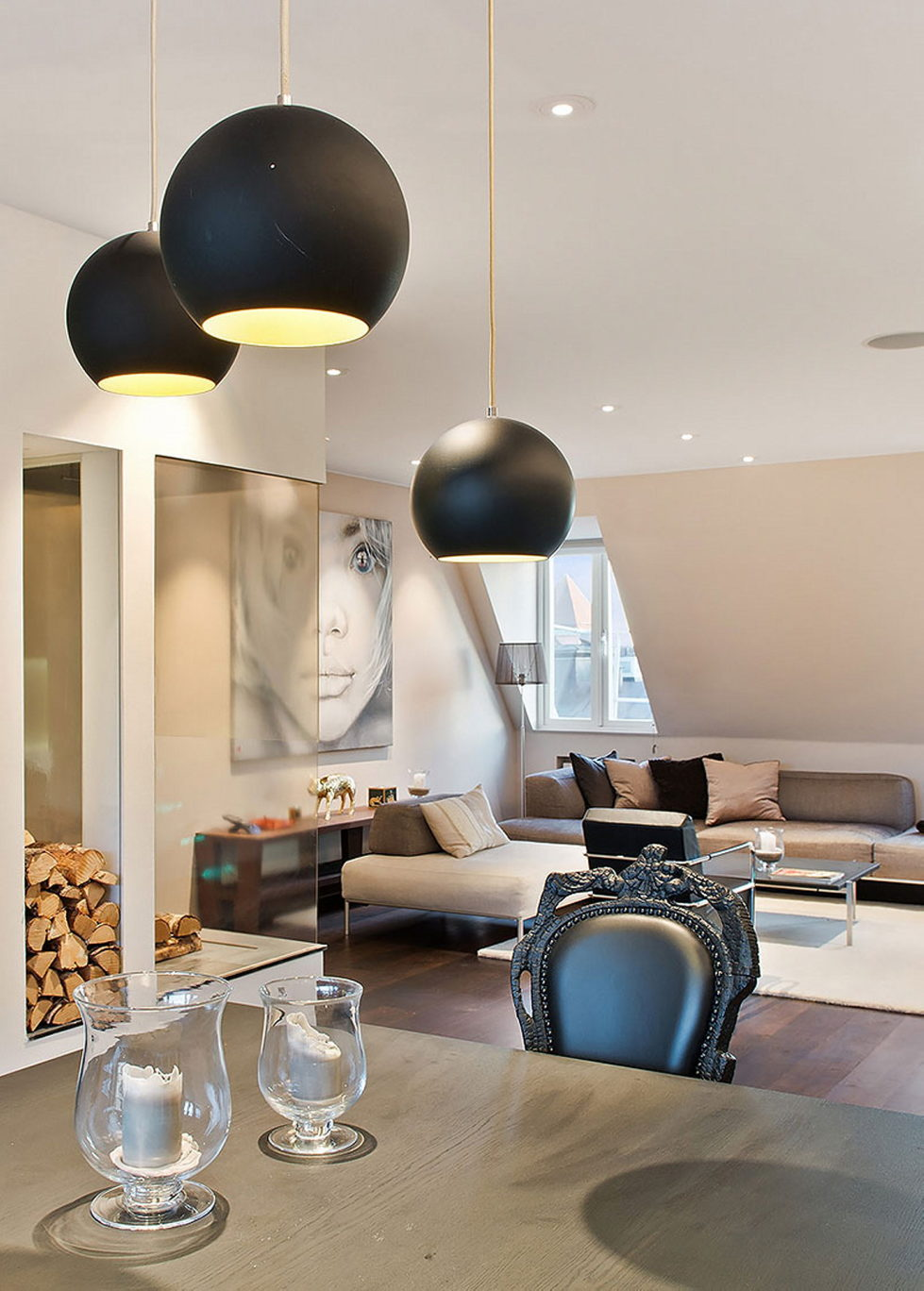 The apartment of 150 square meters in the attic in Stockholm 4