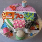 70th Birthday Decorations Ideas Cake Sewing Basket with Patchwork