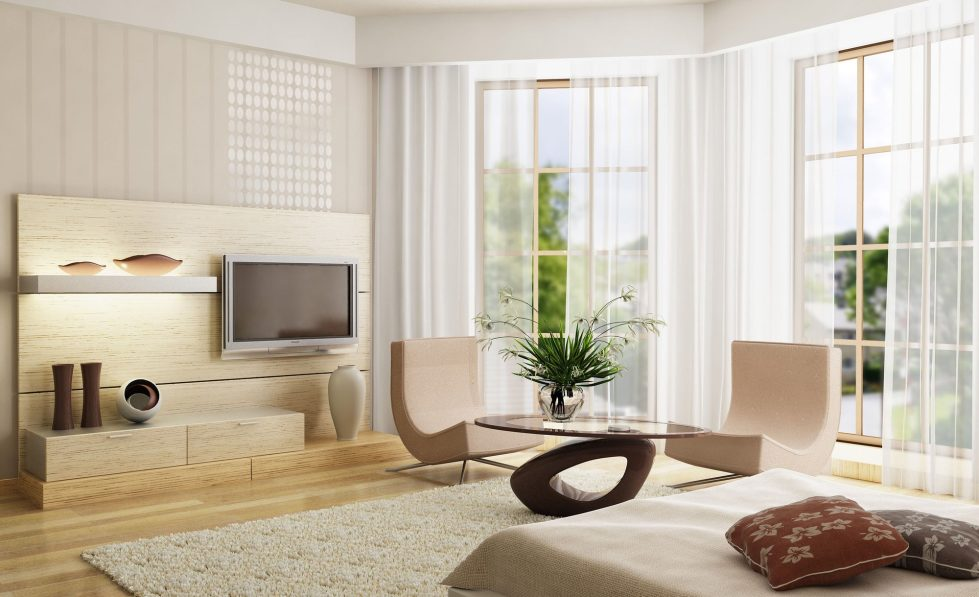 Curtains for a Living Room in the Minimalism Style