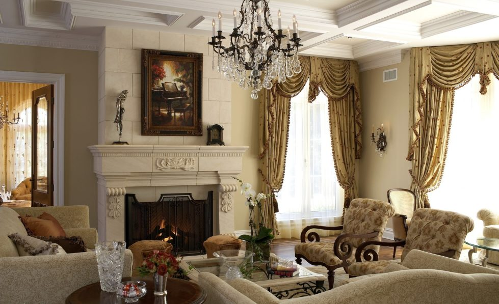curtains for a living room in the classic style