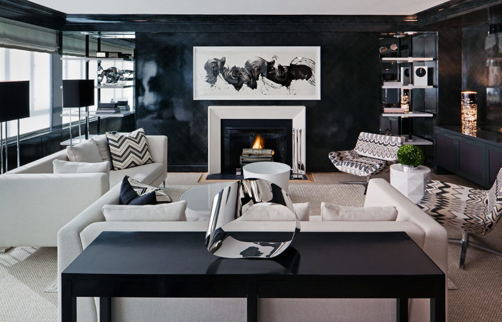 Dark shades for your living room interior – awesome gray and black living room