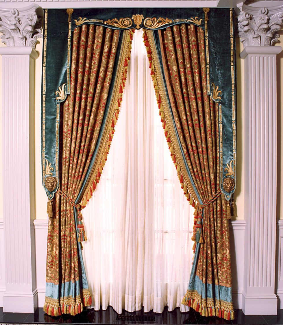 italian renaissance curtain with lambrequin - Window Curtain Design Ideas