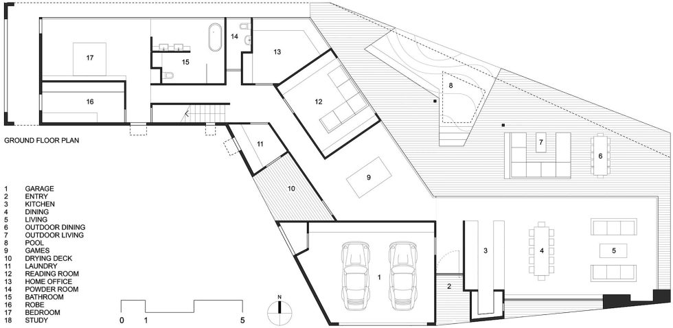 The House Overlooking The Pacific Ocean In Australia The Teeland Architects Project ground floor plan