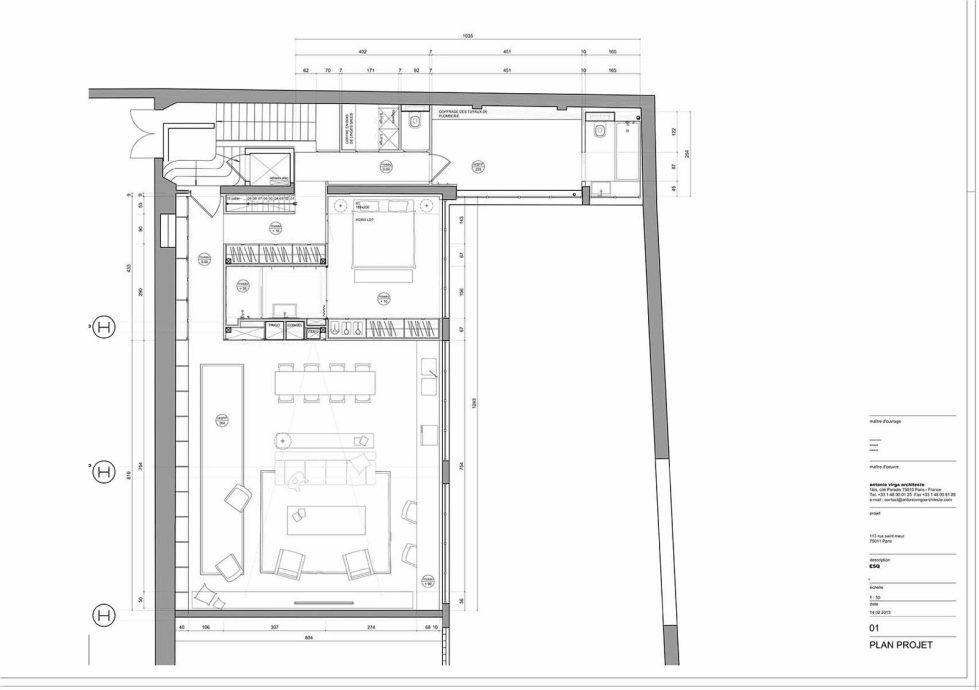 The apartment in Paris from studios Atelier BARDA and Antonio Virga Architecte Plan 1