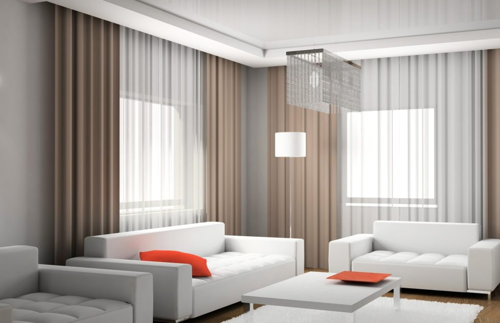 Curtains for a living room in modern style interior for Interior design curtains