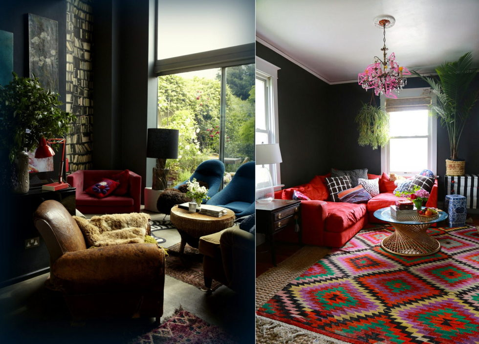 Dark shades for your living room interior - dark oak contemporary furniture