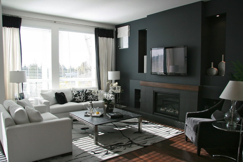 Dark shades for your living room interior – black living room