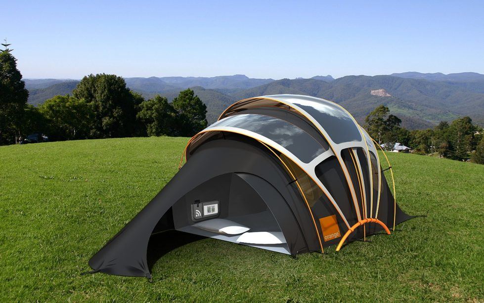 Orange Solar Tent The Innovative Tent With The Inbuilt Battery Charger For Mobile Devices 1