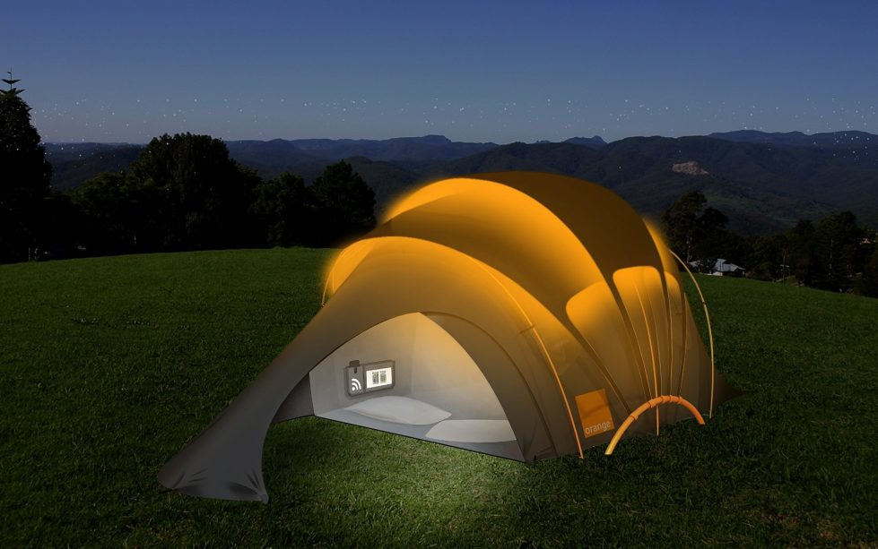 Orange Solar Tent The Innovative Tent With The Inbuilt Battery Charger For Mobile Devices 2