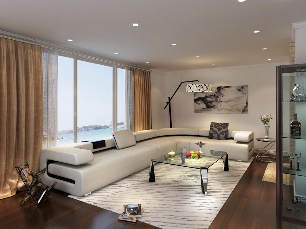 Beige Living Room Interior