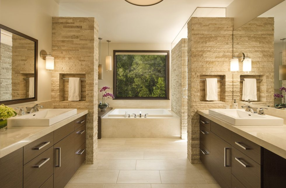 Beige and Brown color bathroom