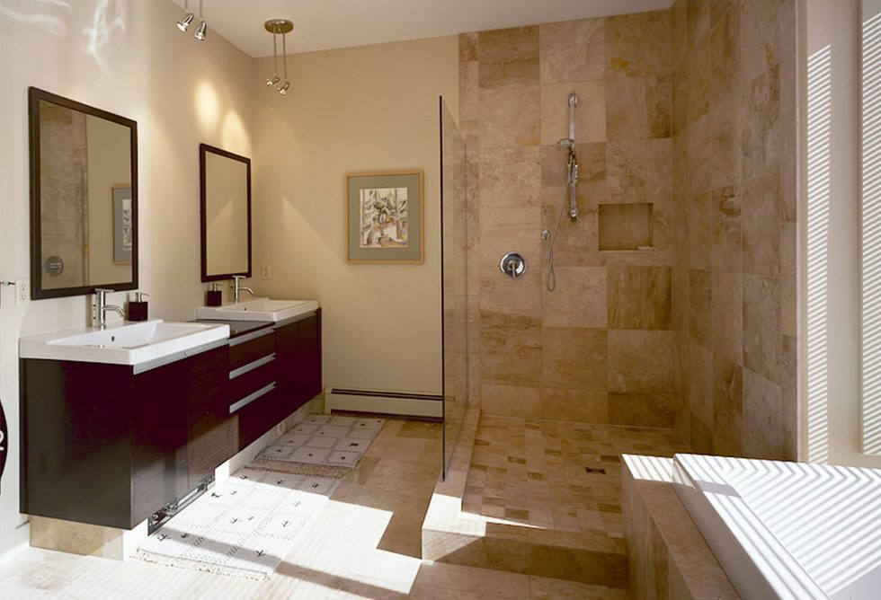Beige and Brown color bathroom interior