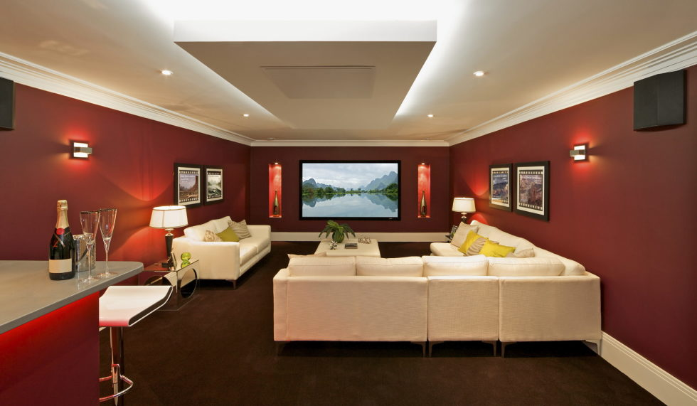 Beige and Red Color Living Room Interior