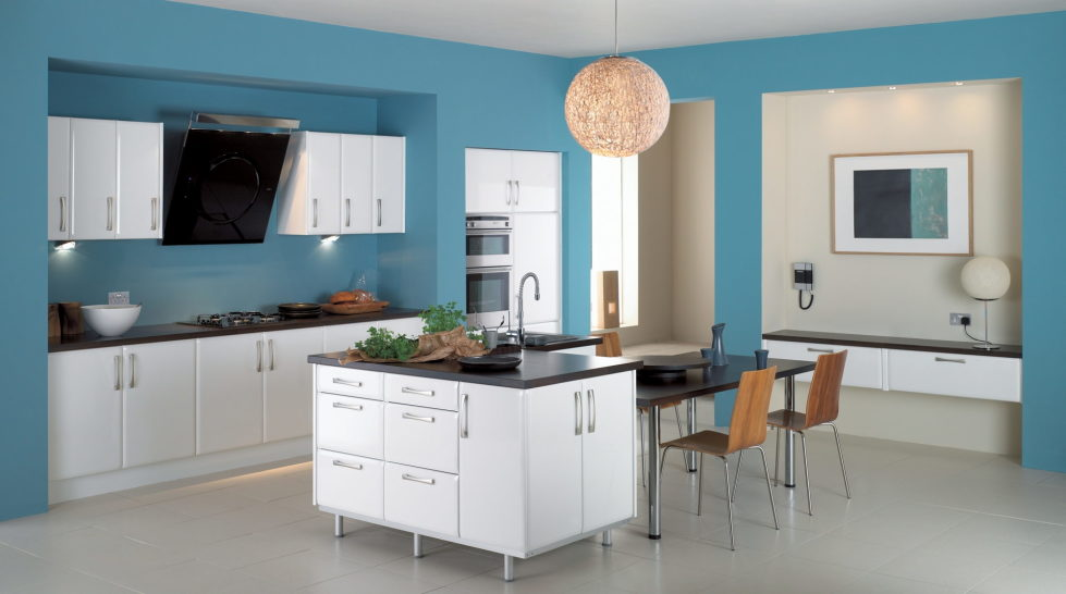 Beige and blue color kitchen design