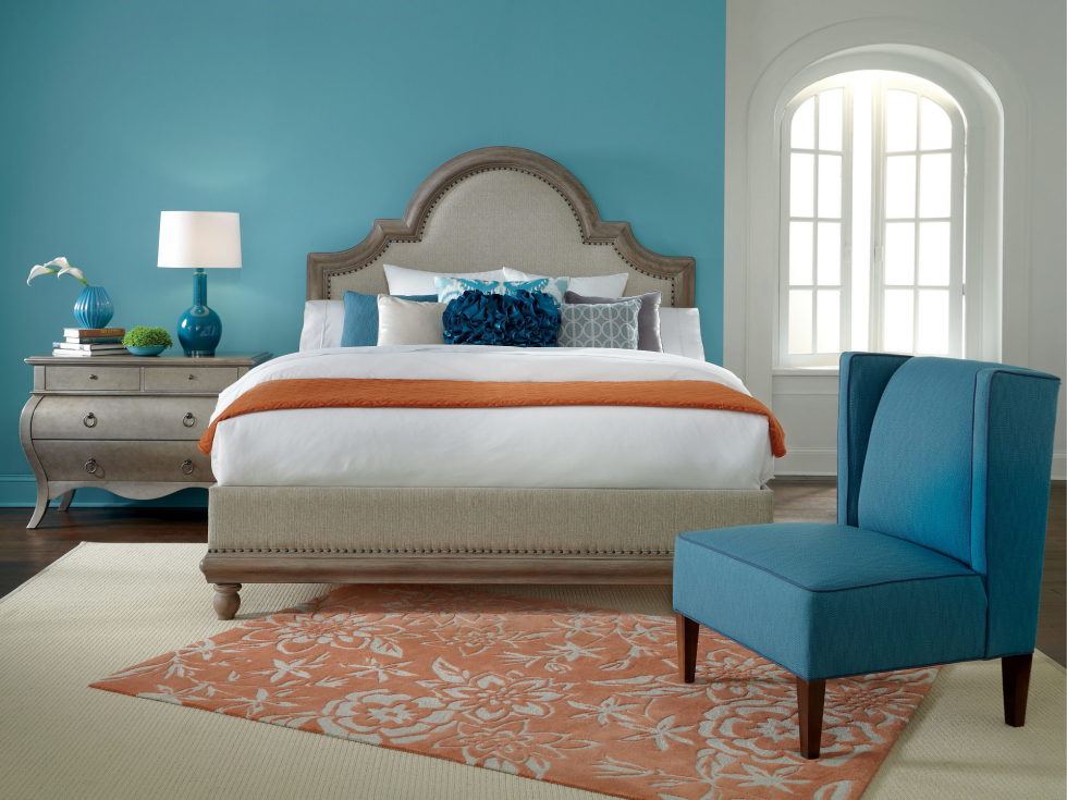Beige and light blue color in the bedroom interior. Beige color in the interior and its combinations with other colors