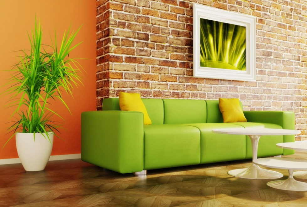 Combination Of Green And Orange Living Room
