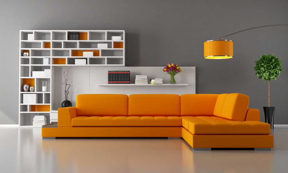 Combination of the orange and grey colors in the interior