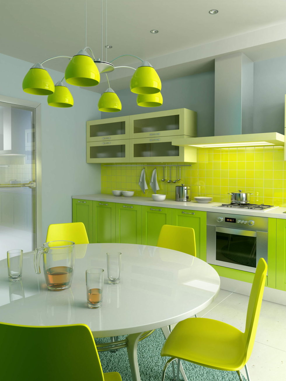 Combination of yellow-green in the interior