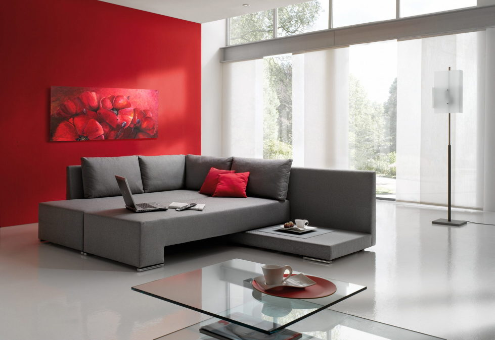 Combinations of the red and grey colors in the interior