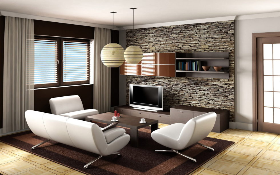 Decoration Of A Living Room In Beige Colour
