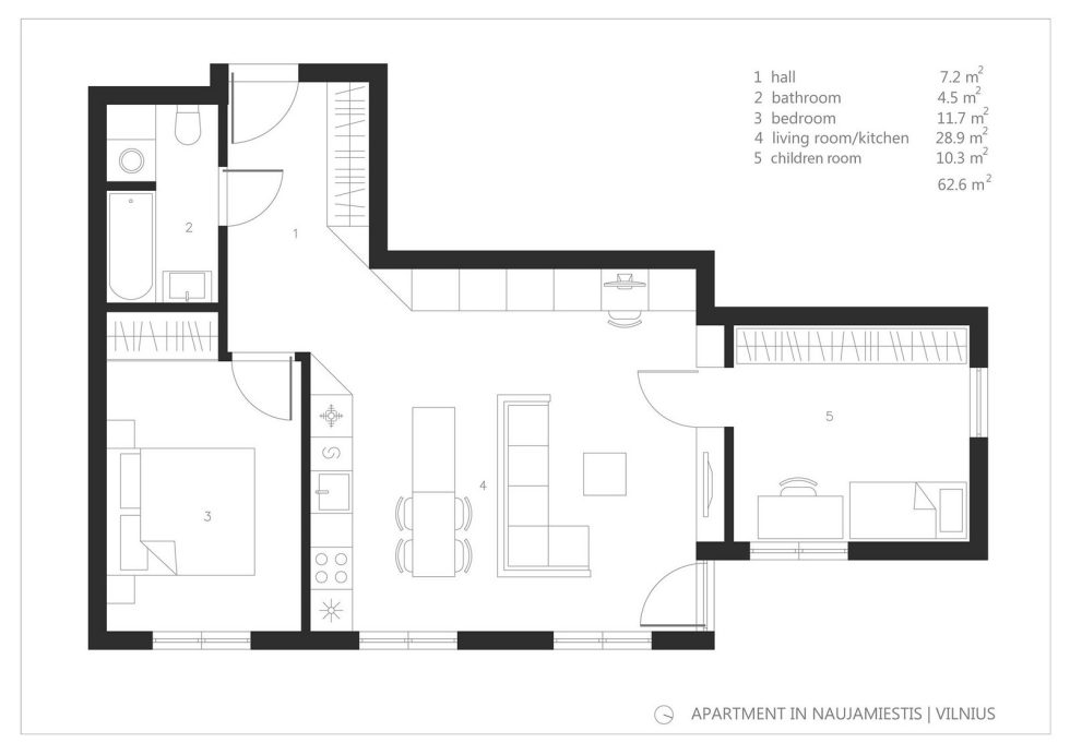 Elegant Apartment In Vilnius From Normundas Vilkas Studio - Plan