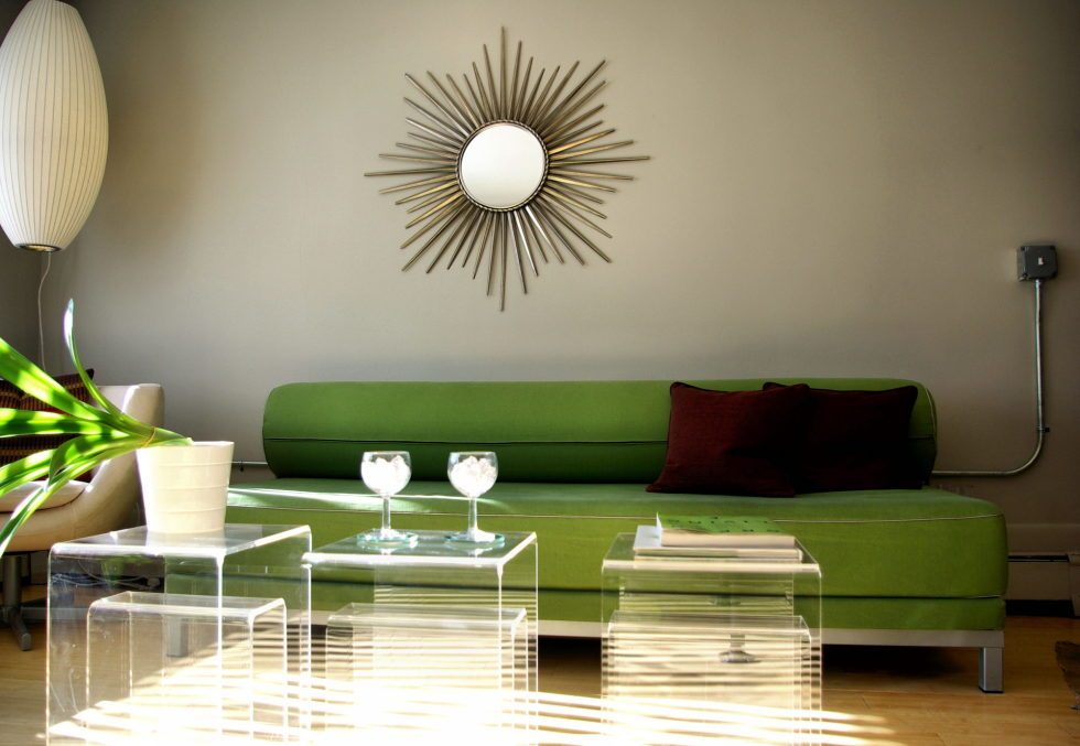 Green and Beige Living Room Interior