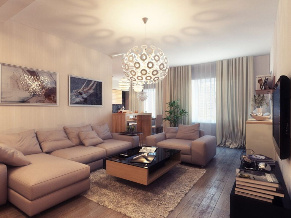 The Beige Colour In Various Styles Of A Living Room`s Decoration