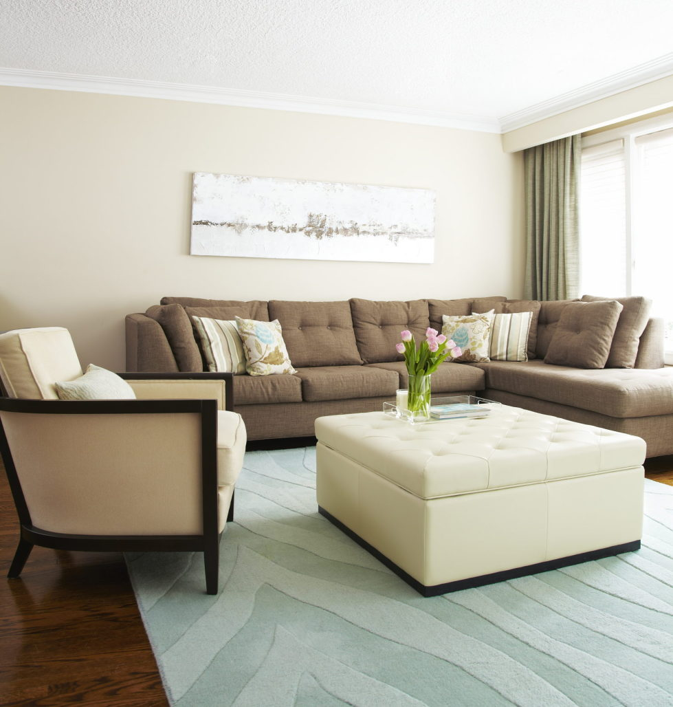 Living room in beige color for Couleur sejour moderne