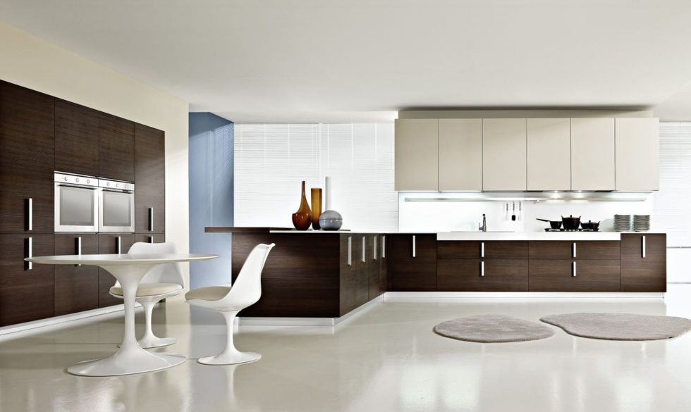 The beige and brown color kitchen interior