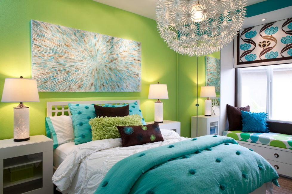 The blue and green colors in the interior