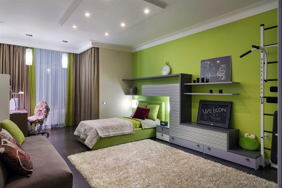 Combination of the green color in the interior for Bedroom interior designs green
