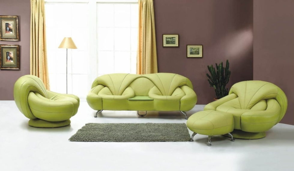 The interior in the brown and green colors