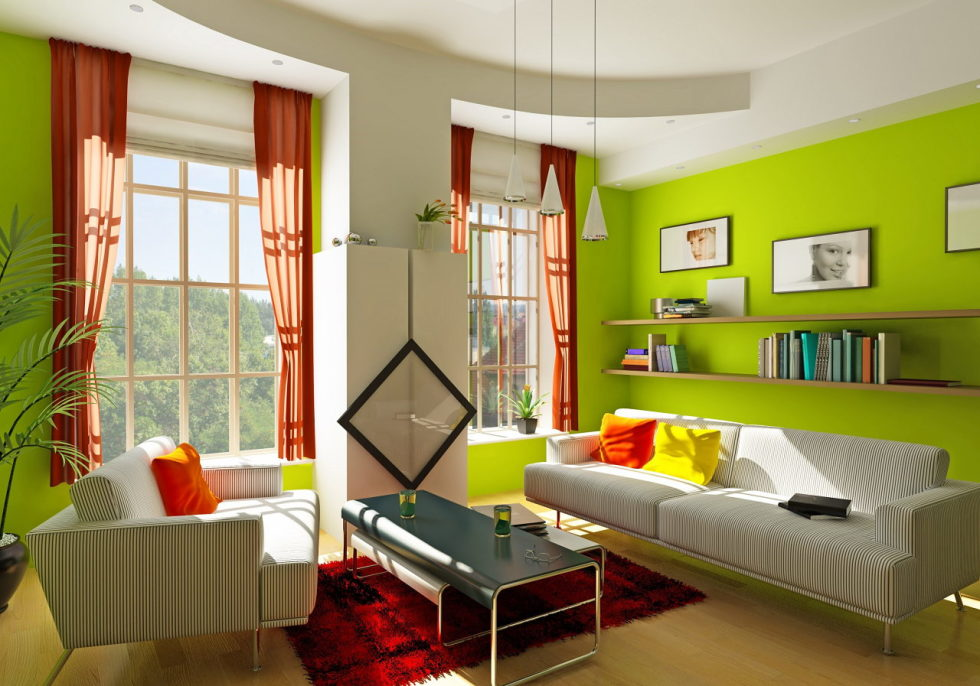 The red and green colors in the interior