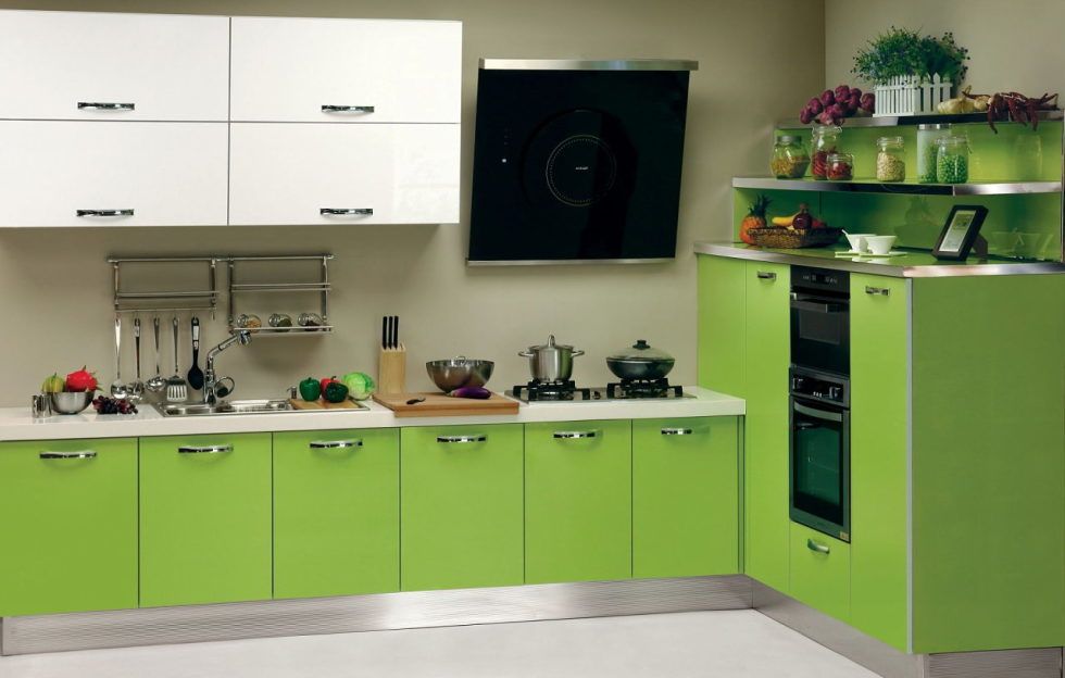 The white-green color in the interior – green and white kitchen storages