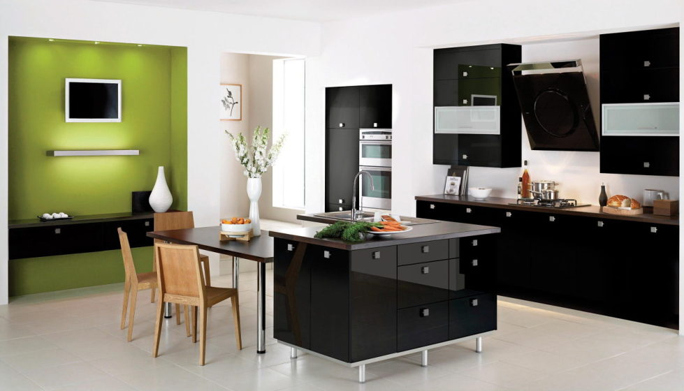 black, white and green colors in the kitchen interior