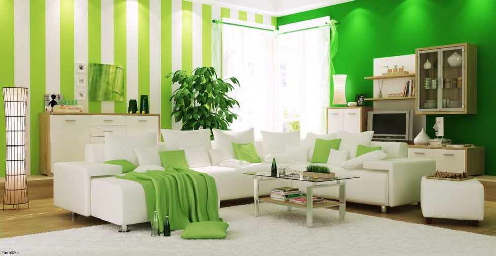 combinations of beige and green color in the interior design
