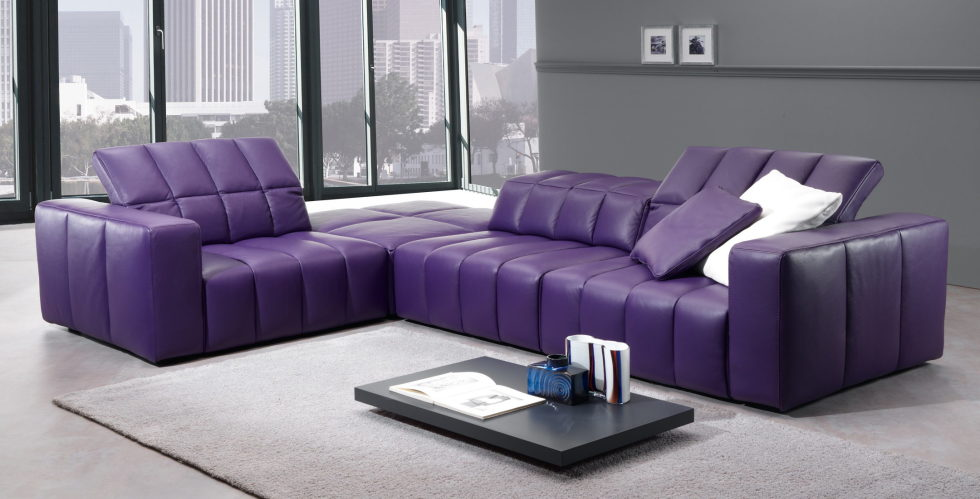 lilac and grey colors in the interior