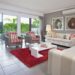 red and grey colors living room interior