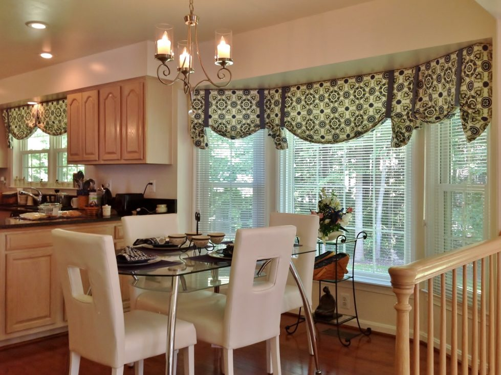 Kitchen interior in The Beige Color – Curtains and Window Shades
