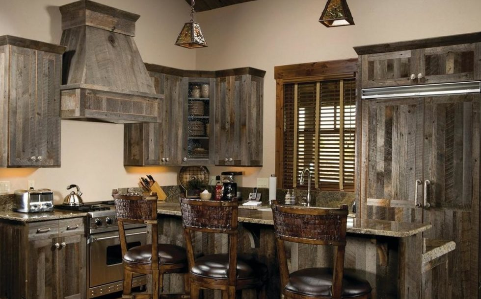 wood details in country kitchen